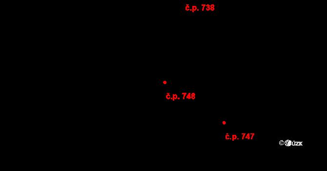 Prštné 748, Zlín na parcele st. 500/2 v KÚ Prštné, Katastrální mapa