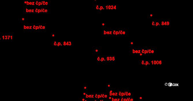 Jablonec nad Nisou 935 na parcele st. 734/1 v KÚ Jablonec nad Nisou, Katastrální mapa