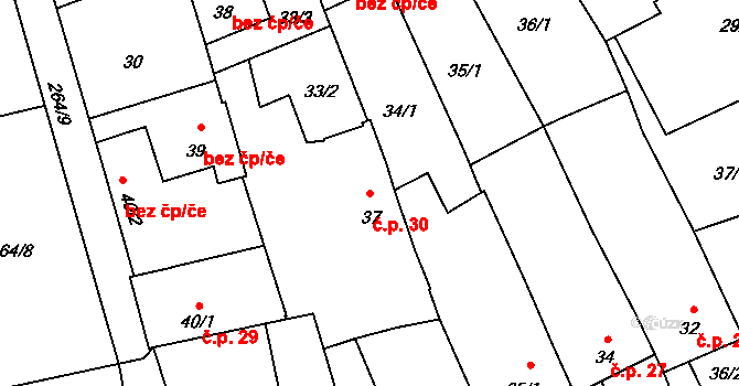 Neředín 30, Olomouc na parcele st. 37 v KÚ Neředín, Katastrální mapa