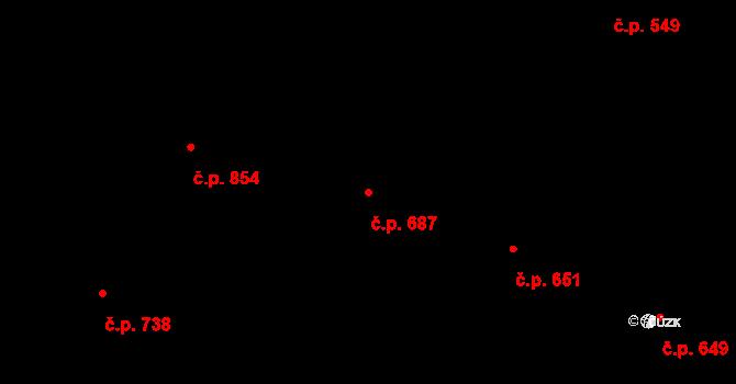Hradec Králové 687 na parcele st. 767 v KÚ Hradec Králové, Katastrální mapa