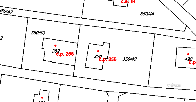 Zásada 255 na parcele st. 320 v KÚ Zásada, Katastrální mapa