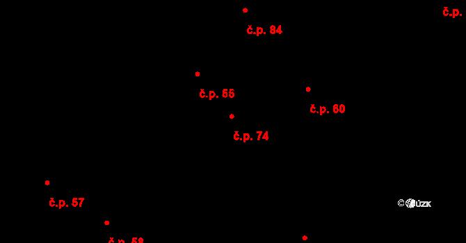 Kyšice 74 na parcele st. 74 v KÚ Kyšice u Plzně, Katastrální mapa