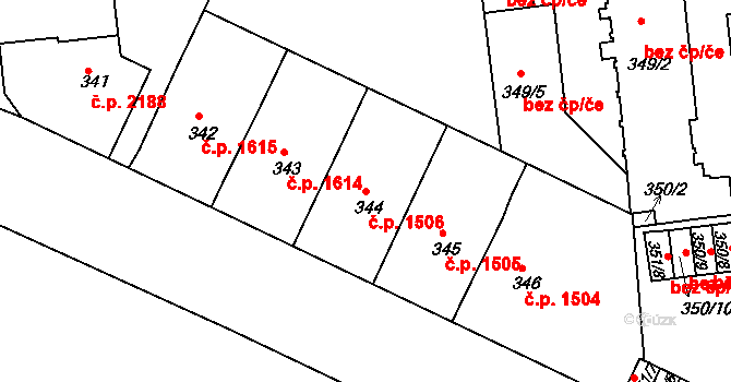 Ústí nad Labem-centrum 1506, Ústí nad Labem na parcele st. 344 v KÚ Ústí nad Labem, Katastrální mapa