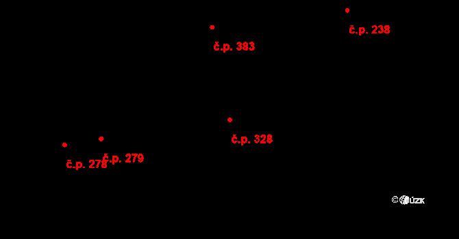 Mladcová 328, Zlín na parcele st. 608 v KÚ Mladcová, Katastrální mapa
