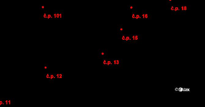 Větrný Jeníkov 13 na parcele st. 332 v KÚ Větrný Jeníkov, Katastrální mapa