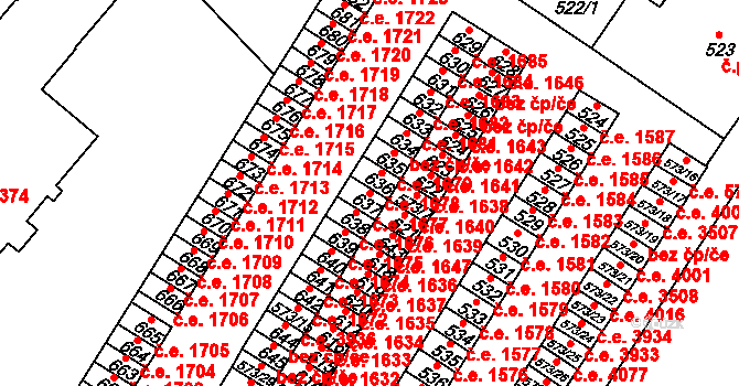 Všebořice 1677, Ústí nad Labem na parcele st. 637 v KÚ Všebořice, Katastrální mapa