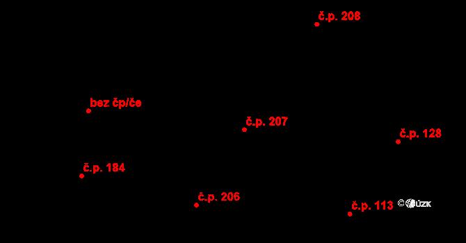 Davle 207 na parcele st. 842 v KÚ Davle, Katastrální mapa