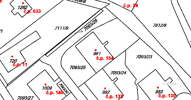 Slavonice 134 na parcele st. 981 v KÚ Slavonice, Katastrální mapa