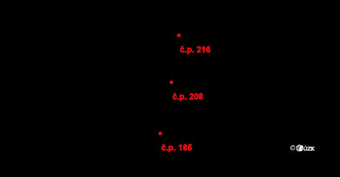 Vysočany 208, Praha na parcele st. 1238 v KÚ Vysočany, Katastrální mapa