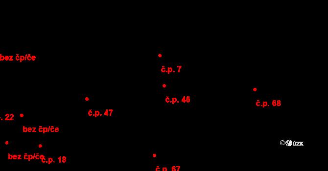 Branov 45 na parcele st. 25 v KÚ Branov, Katastrální mapa