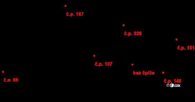 Davle 107 na parcele st. 784 v KÚ Davle, Katastrální mapa