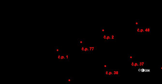 Prštné 77, Zlín na parcele st. 20/1 v KÚ Prštné, Katastrální mapa