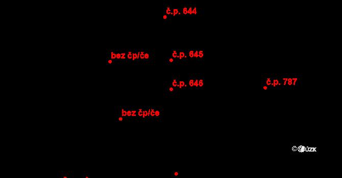 Svítkov 646, Pardubice na parcele st. 743 v KÚ Svítkov, Katastrální mapa