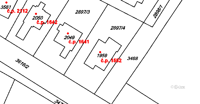 Lysá nad Labem 1582 na parcele st. 1959 v KÚ Lysá nad Labem, Katastrální mapa