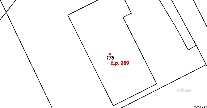 Pohled 259 na parcele st. 136 v KÚ Pohled, Katastrální mapa