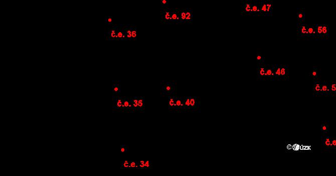 Prštné 40, Zlín na parcele st. 833 v KÚ Prštné, Katastrální mapa