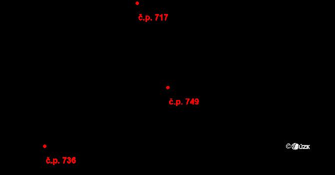 Prštné 749, Zlín na parcele st. 1184 v KÚ Prštné, Katastrální mapa