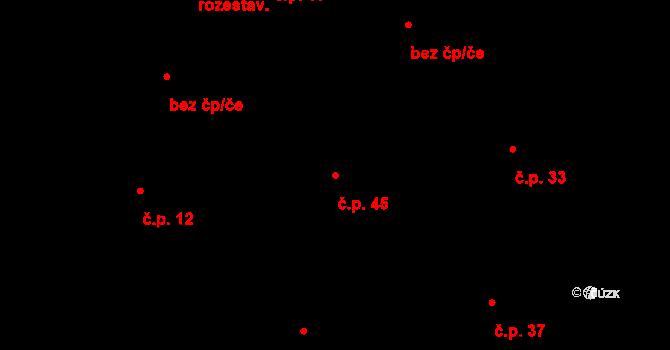 Loucká 45 na parcele st. 130/2 v KÚ Loucká, Katastrální mapa