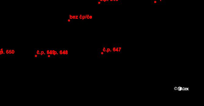 Svítkov 647, Pardubice na parcele st. 744 v KÚ Svítkov, Katastrální mapa