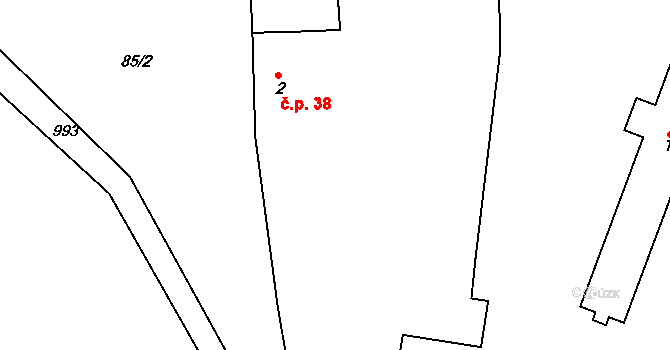 Uhlířská Lhota 38 na parcele st. 2 v KÚ Uhlířská Lhota, Katastrální mapa