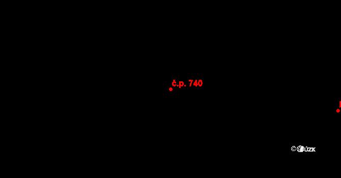 Prštné 740, Zlín na parcele st. 1194 v KÚ Prštné, Katastrální mapa