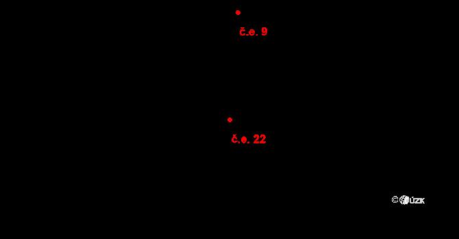 Horní Paseka 22 na parcele st. 355 v KÚ Horní Paseka, Katastrální mapa