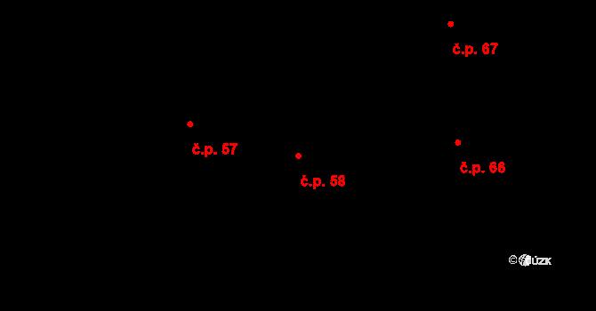 Zámrsky 58 na parcele st. 118 v KÚ Zámrsky, Katastrální mapa