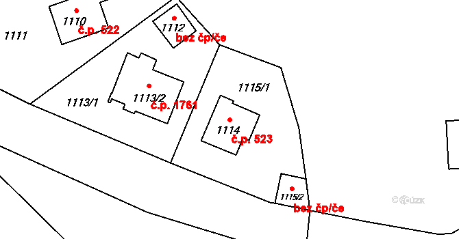 České Budějovice 7 523, České Budějovice na parcele st. 1114 v KÚ České Budějovice 7, Katastrální mapa