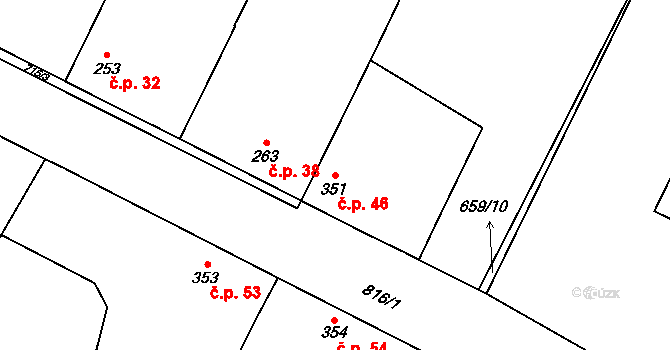 Loucká 46 na parcele st. 351 v KÚ Loucká, Katastrální mapa