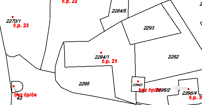 Brná 21, Ústí nad Labem na parcele st. 2294/1 v KÚ Brná nad Labem, Katastrální mapa