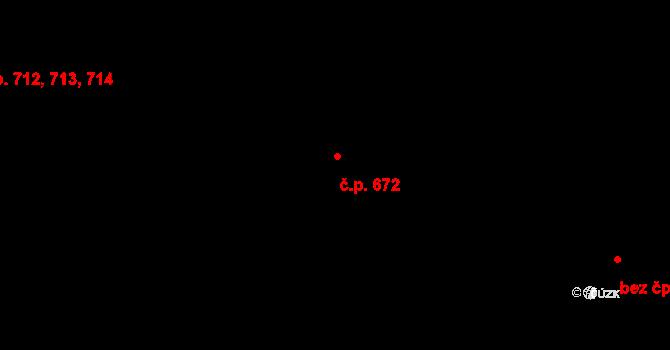 Háje 672, Praha na parcele st. 743 v KÚ Háje, Katastrální mapa