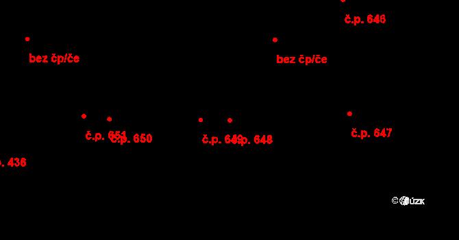Svítkov 648, Pardubice na parcele st. 745 v KÚ Svítkov, Katastrální mapa