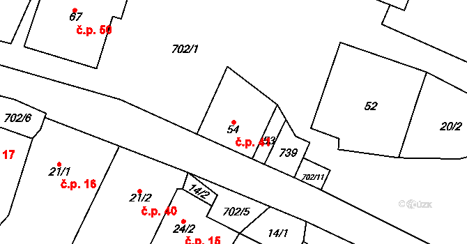Bohuslavice 41 na parcele st. 54 v KÚ Bohuslavice u Konice, Katastrální mapa