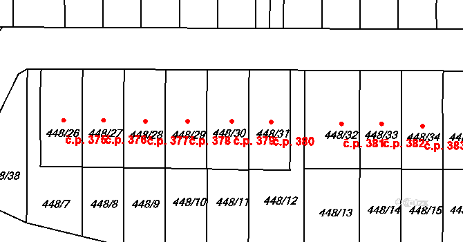 Lelekovice 379 na parcele st. 448/30 v KÚ Lelekovice, Katastrální mapa