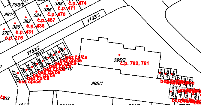Prosek 781, Praha na parcele st. 395/2 v KÚ Prosek, Katastrální mapa