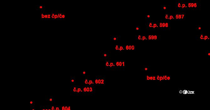 Šternberk 601 na parcele st. 3801 v KÚ Šternberk, Katastrální mapa