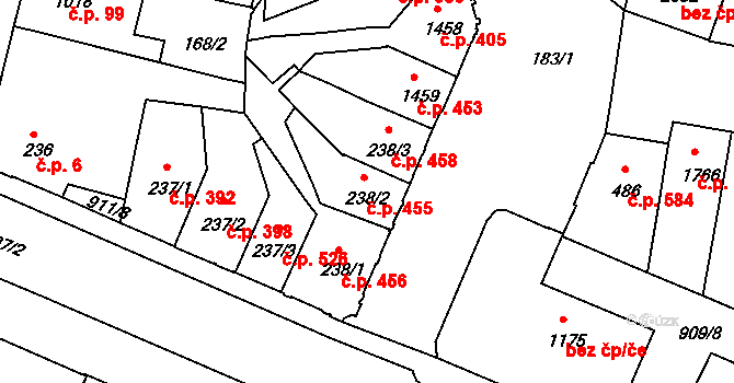Horka-Domky 455, Třebíč na parcele st. 238/2 v KÚ Třebíč, Katastrální mapa