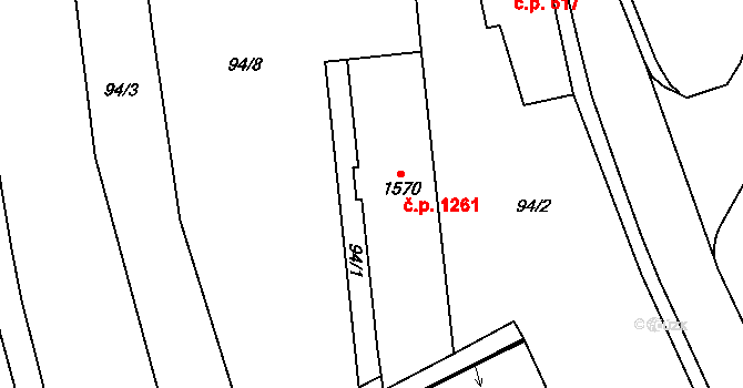 Aš 1261 na parcele st. 1570 v KÚ Aš, Katastrální mapa