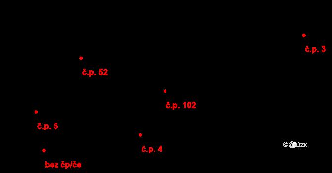Temelín 102 na parcele st. 4/2 v KÚ Temelín, Katastrální mapa