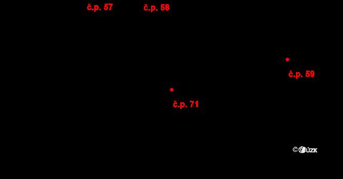 Pesvice 71 na parcele st. 71 v KÚ Pesvice, Katastrální mapa