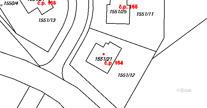 Nová Ves u Nového Města na Moravě 164 na parcele st. 1551/21 v KÚ Nová Ves u Nového Města na Moravě, Katastrální mapa