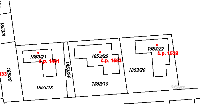 Kylešovice 1553, Opava na parcele st. 1853/25 v KÚ Kylešovice, Katastrální mapa