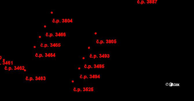 Židenice 3493, Brno na parcele st. 6344 v KÚ Židenice, Katastrální mapa
