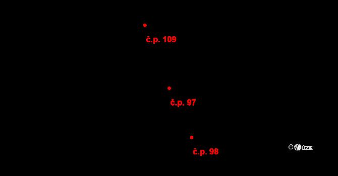 Žďár 97 na parcele st. 110 v KÚ Žďár u Blanska, Katastrální mapa