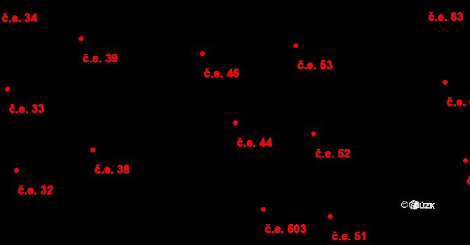 Prštné 44, Zlín na parcele st. 837 v KÚ Prštné, Katastrální mapa