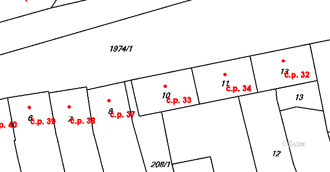 Horní Stropnice 33 na parcele st. 10 v KÚ Horní Stropnice, Katastrální mapa