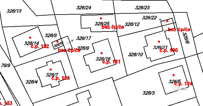 Staré Hodějovice 151 na parcele st. 326/16 v KÚ Staré Hodějovice, Katastrální mapa