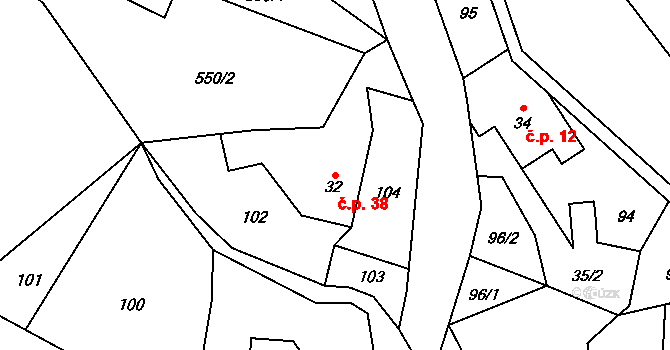 Štědrákova Lhota 38, Ruda nad Moravou na parcele st. 32 v KÚ Štědrákova Lhota, Katastrální mapa