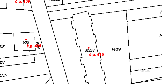 Archlebov 410 na parcele st. 509/1 v KÚ Archlebov, Katastrální mapa