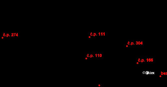 Davle 111 na parcele st. 722 v KÚ Davle, Katastrální mapa